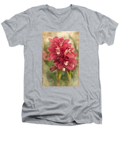 Orchid Men's V-Neck T-Shirt by Catherine Lau