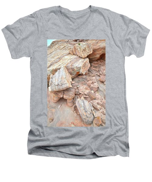 Men's V-Neck T-Shirt featuring the photograph Ornate Sandstone In Valley Of Fire by Ray Mathis