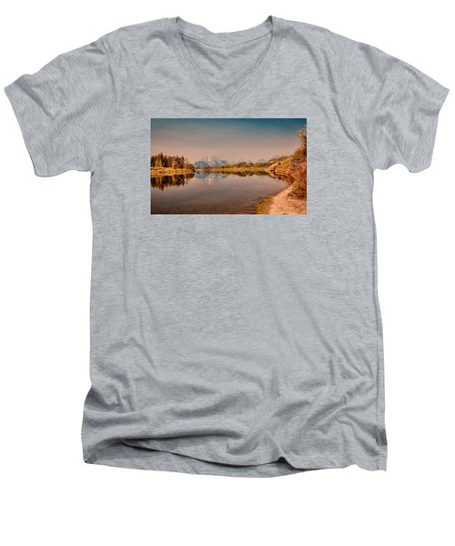 Oxbow Bend Men's V-Neck T-Shirt by Cathy Donohoue