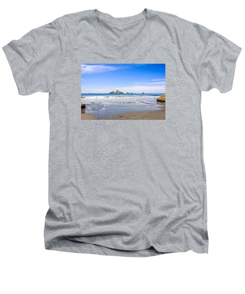 Pacific Coast California Men's V-Neck T-Shirt by Chris Smith
