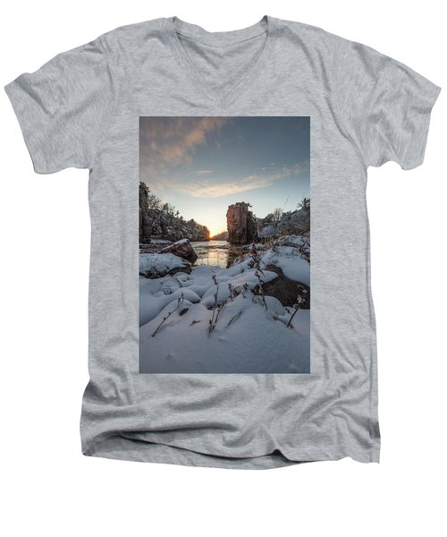 Men's V-Neck T-Shirt featuring the photograph  Palisades First Snow by Aaron J Groen