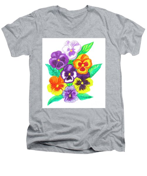 Pansies, Watercolour Painting Men's V-Neck T-Shirt by Irina Afonskaya