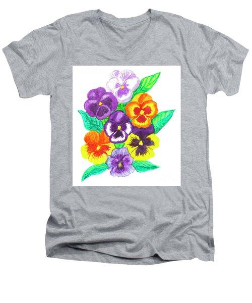 Pansies, Watercolour Painting Men's V-Neck T-Shirt