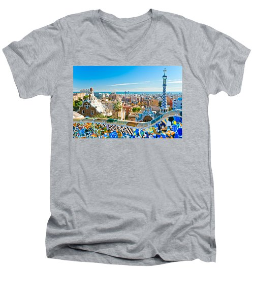 Park Guell Barcelona Men's V-Neck T-Shirt by Luciano Mortula