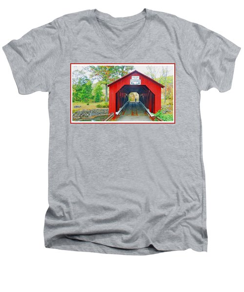 Parr's Mill Covered Bridge, Columbia County, Pennsylvania Men's V-Neck T-Shirt by A Gurmankin
