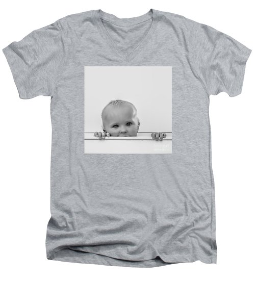 Peek A Boo Men's V-Neck T-Shirt by Karen Lewis