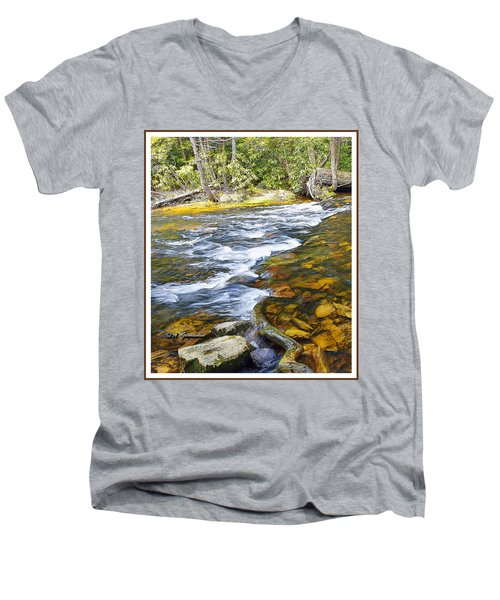Pennsylvania Mountain Stream Men's V-Neck T-Shirt by A Gurmankin