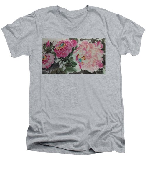 Men's V-Neck T-Shirt featuring the painting Peoney20161230_624 by Dongling Sun
