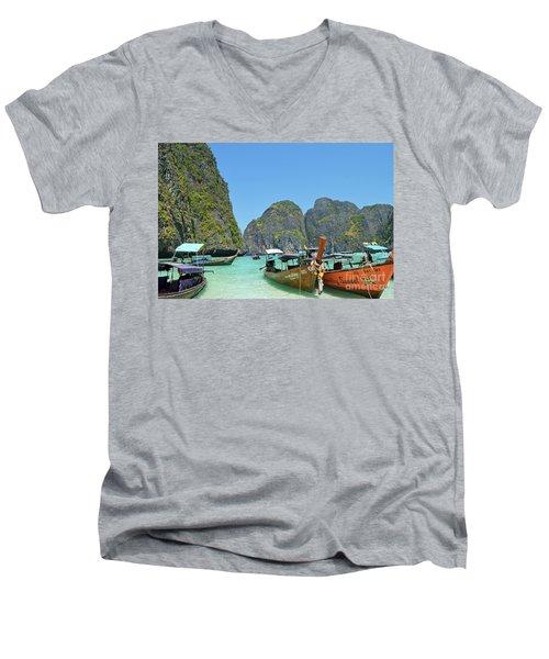 Men's V-Neck T-Shirt featuring the digital art Phi Phi Islands 3 by Eva Kaufman