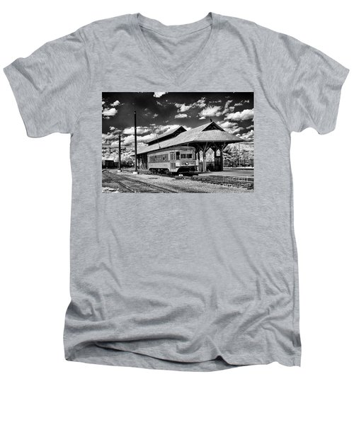 Men's V-Neck T-Shirt featuring the photograph Philadelphia Trolley by Paul W Faust - Impressions of Light