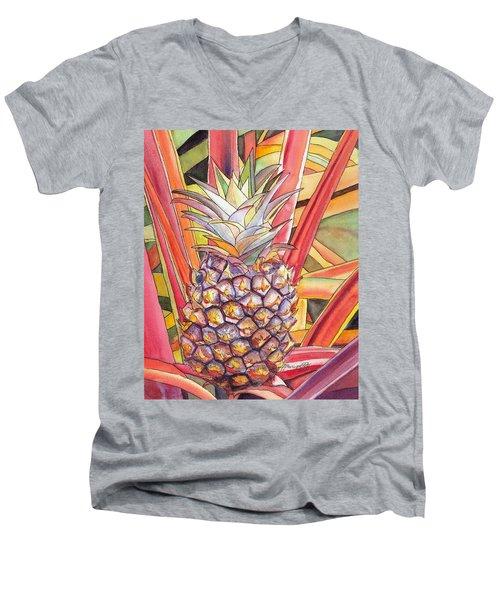 Pineapple Men's V-Neck T-Shirt by Marionette Taboniar