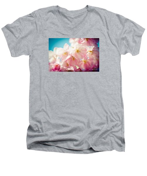 Pink Cherry Blossoms Closeup Men's V-Neck T-Shirt