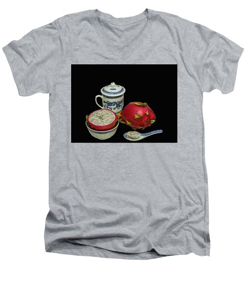 Men's V-Neck T-Shirt featuring the photograph Pink Dragon Fruit  by David French