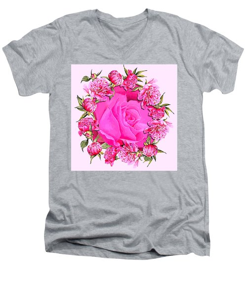 Pink Magnificence Men's V-Neck T-Shirt
