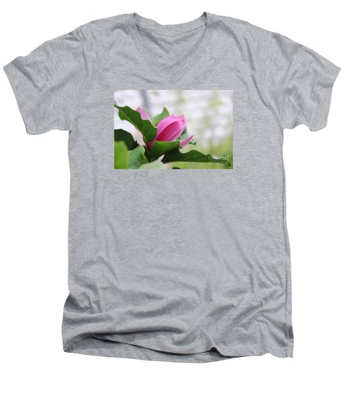 Men's V-Neck T-Shirt featuring the photograph Pink Magnolia  by Yumi Johnson