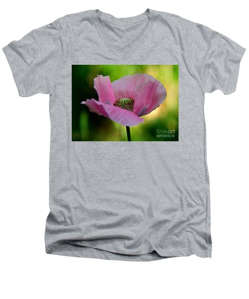 Men's V-Neck T-Shirt featuring the photograph Pink Poppy by Lisa L Silva