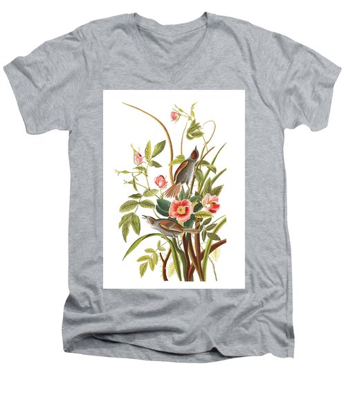 Men's V-Neck T-Shirt featuring the photograph Pink Roses by Munir Alawi