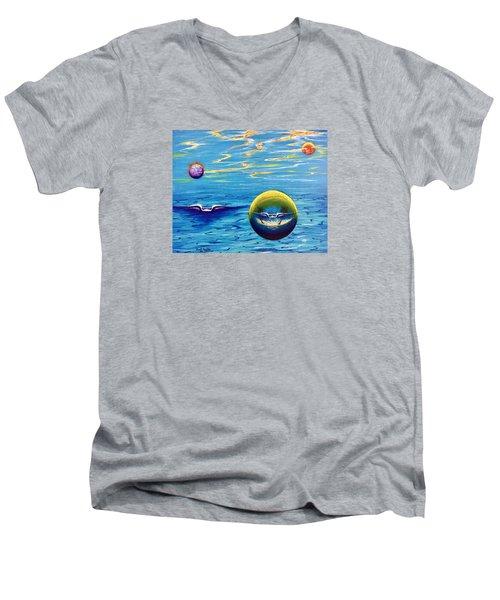 Planet Surf  Men's V-Neck T-Shirt