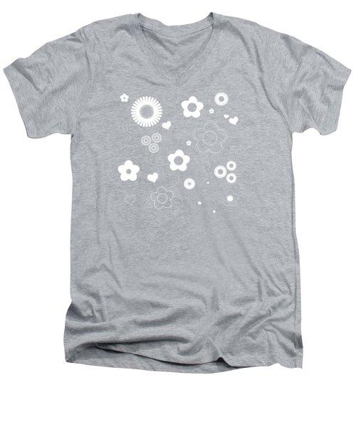 Playful Flower Background Men's V-Neck T-Shirt by Serena King