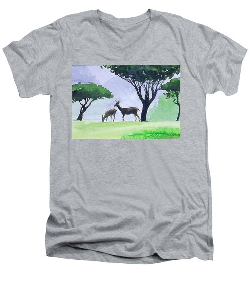 Men's V-Neck T-Shirt featuring the painting Point Lobos by Ed Heaton