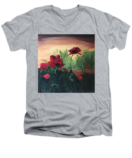 Men's V-Neck T-Shirt featuring the painting Poppies by Jane Croteau