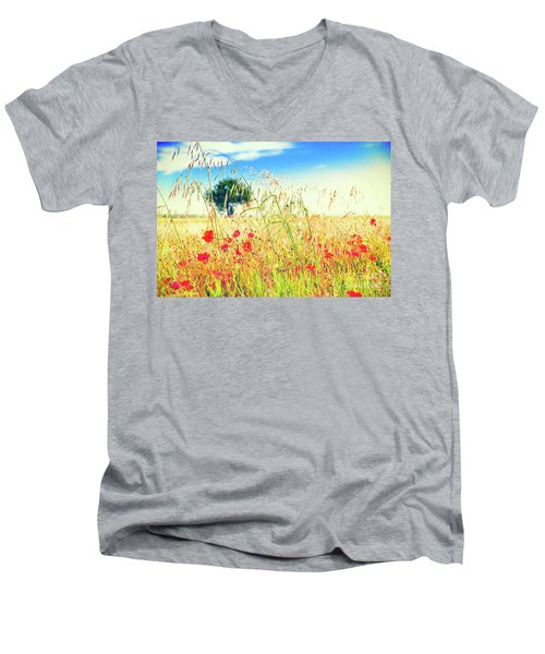 Men's V-Neck T-Shirt featuring the photograph Poppies With Tree In The Distance by Silvia Ganora