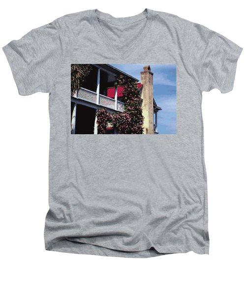 Porch In Bloom Men's V-Neck T-Shirt by Glenn Gemmell