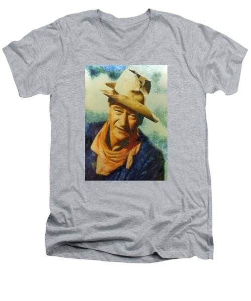 Men's V-Neck T-Shirt featuring the digital art Portrait Of John Wayne by Charmaine Zoe