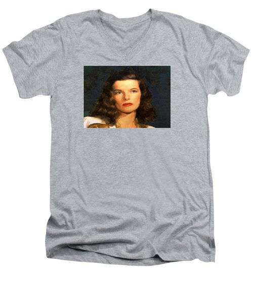 Men's V-Neck T-Shirt featuring the digital art Portrait Of Katherine Hepburn by Charmaine Zoe