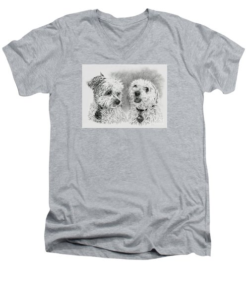 Men's V-Neck T-Shirt featuring the drawing Precious Ones  by Terri Mills