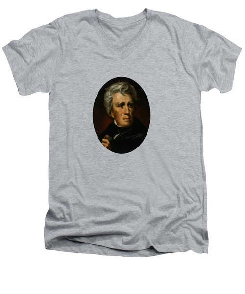 Men's V-Neck T-Shirt featuring the painting President Andrew Jackson  by War Is Hell Store