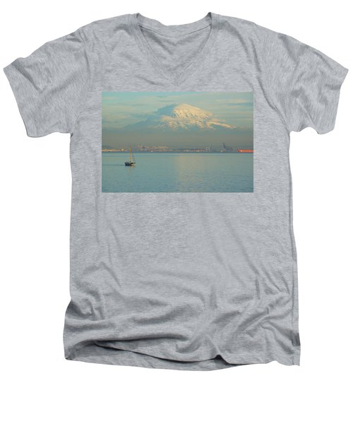 Men's V-Neck T-Shirt featuring the photograph Puget Sound by Angi Parks