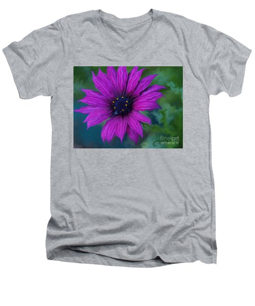 Purple Men's V-Neck T-Shirt by Trena Mara