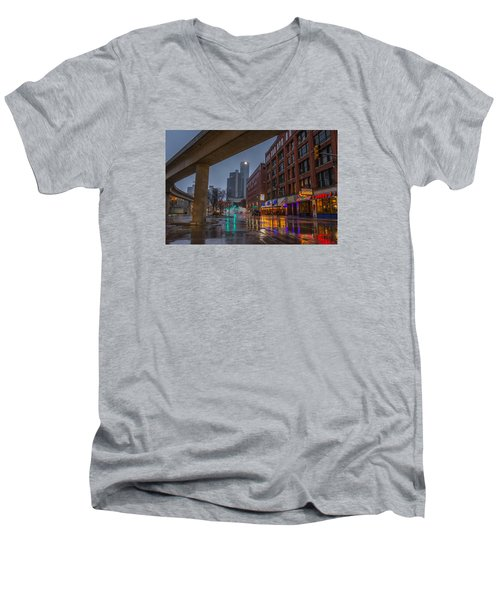 Rainy Night In Detroit  Men's V-Neck T-Shirt