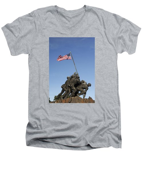 Raising The Flag On Iwo - 799 Men's V-Neck T-Shirt by Paul W Faust -  Impressions of Light