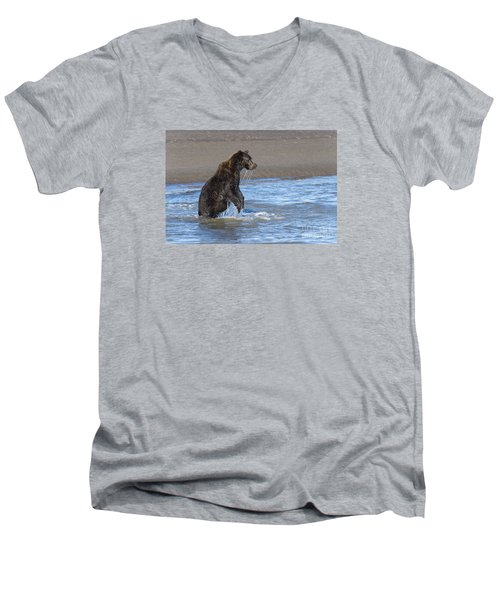 Ready, Set, Go Men's V-Neck T-Shirt by Sandra Bronstein