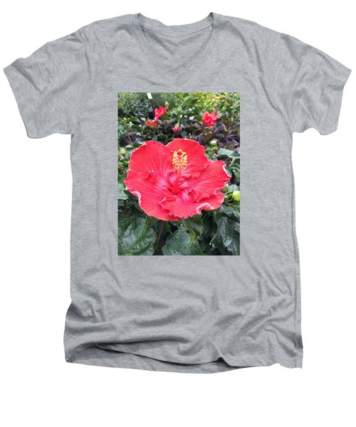 Men's V-Neck T-Shirt featuring the photograph Red Hibiscus by Kay Gilley