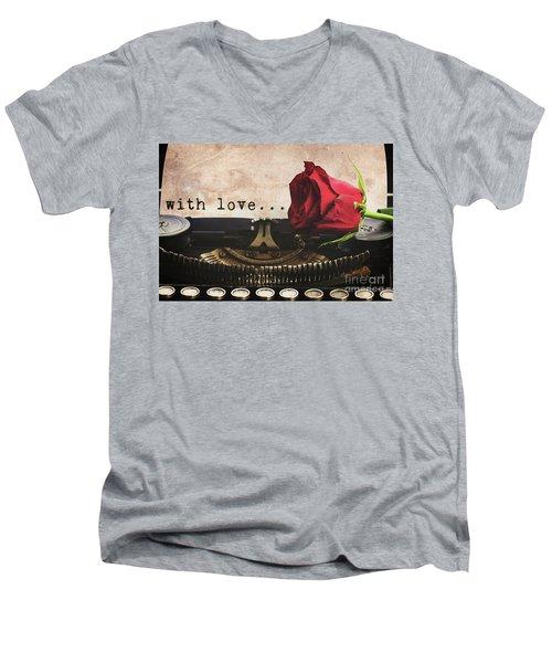 Red Rose On Typewriter Men's V-Neck T-Shirt by Anastasy Yarmolovich