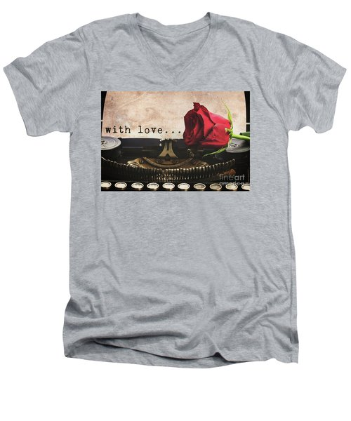 Red Rose On Typewriter Men's V-Neck T-Shirt