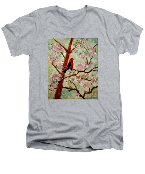 Men's V-Neck T-Shirt featuring the painting Red Tangler by Denise Tomasura