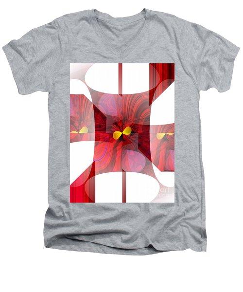 Red Transparency  Men's V-Neck T-Shirt