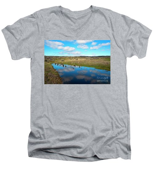 Men's V-Neck T-Shirt featuring the photograph Reflections Of Spring by Mike Dawson
