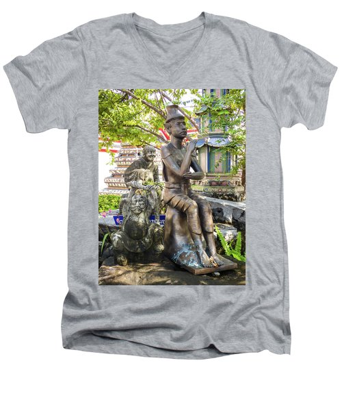 Reusi Dat Ton Statue At Famous Wat Pho Temple Men's V-Neck T-Shirt