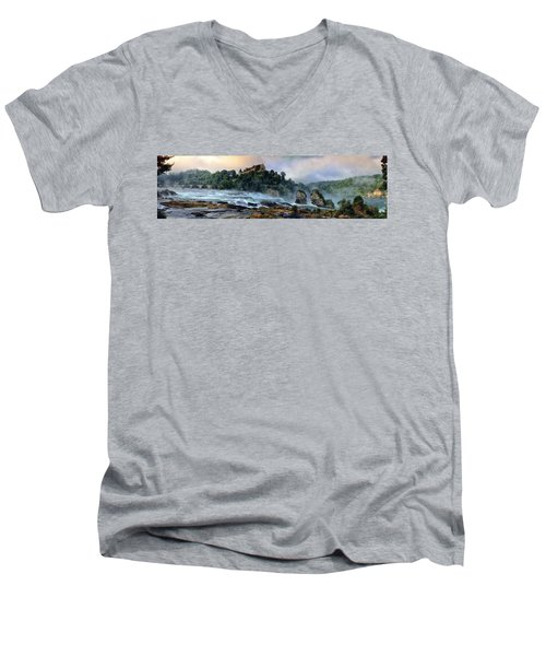 Rhinefalls, Switzerland Men's V-Neck T-Shirt by Elenarts - Elena Duvernay photo