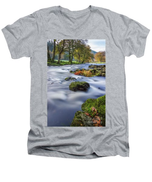 River Llugwy Men's V-Neck T-Shirt by Ian Mitchell
