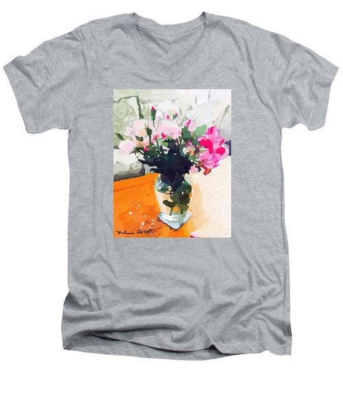 Roses In The Living Room Men's V-Neck T-Shirt by Melissa Abbott