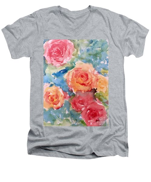 Roses Men's V-Neck T-Shirt by Trilby Cole