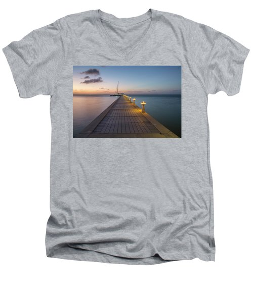 Men's V-Neck T-Shirt featuring the photograph Rum Point Pier At Sunset by Adam Romanowicz
