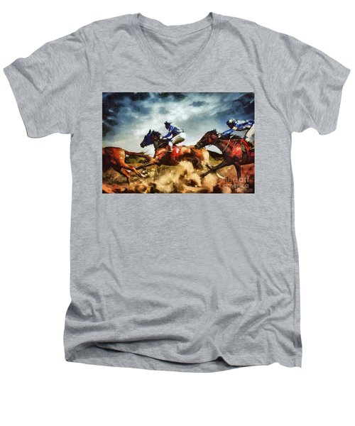 Men's V-Neck T-Shirt featuring the painting Running Horses Competition Jockeys In Horse Race by Dimitar Hristov