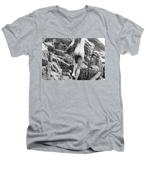 Running Nude Girl On Rocks Men's V-Neck T-Shirt